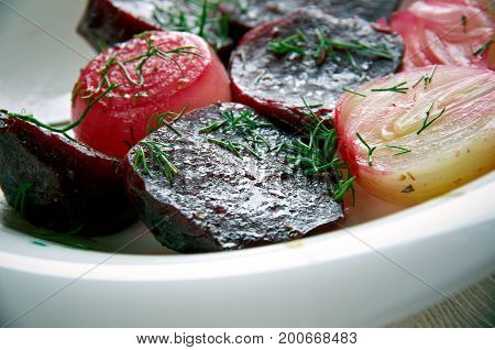 Balsamic Roasted Beet and Onion close up meal