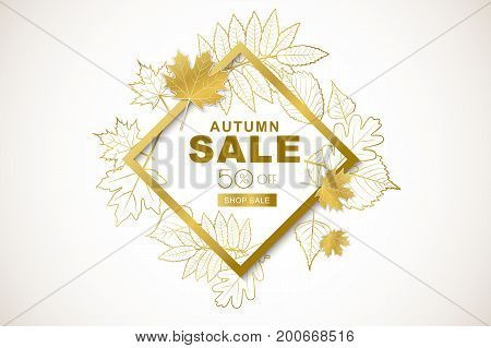 Autumn Sale Banner With Isolated Golden Frame And Gold Outline Autumn Leaves. Vector Fall Poster Bac