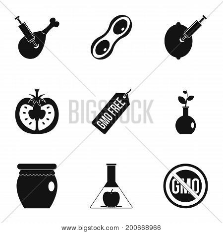 GMO laboratory icon set. Simple set of 9 GMO laboratory vector icons for web isolated on white background