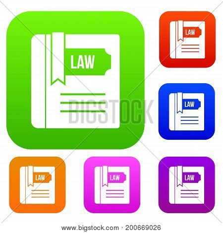 Law book set icon in different colors isolated vector illustration. Premium collection