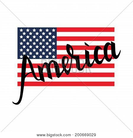 American flag with inscription brush America isolated on white background