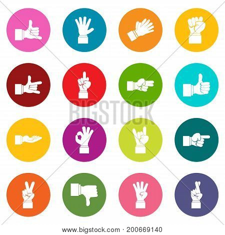 Hand gesture icons many colors set isolated on white for digital marketing