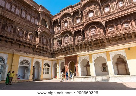 JODHPUR RAJASTHAN INDIA - MARCH 05 2016: Wide angle picture of the beautiful architecture of Mehrangarh Fort in Jodhpur the blue city of Rajasthan in India.