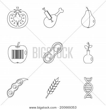 GMO laboratory icon set. Outline set of 9 GMO laboratory vector icons for web isolated on white background