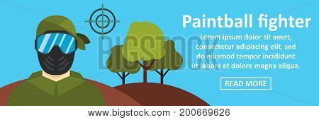 Paintball fighter banner horizontal concept. Flat illustration of paintball fighter banner horizontal vector concept for web