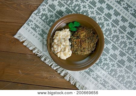 Fasolica - mash beans and pork chop. Moldovan cuisine
