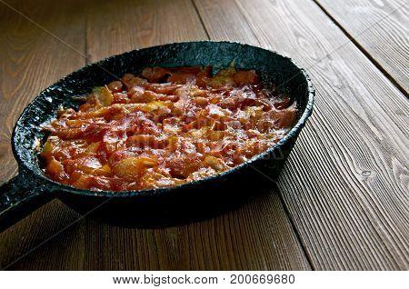 Balkan Baked Beans - Prebranac. Bosnia pot close up healthy meal