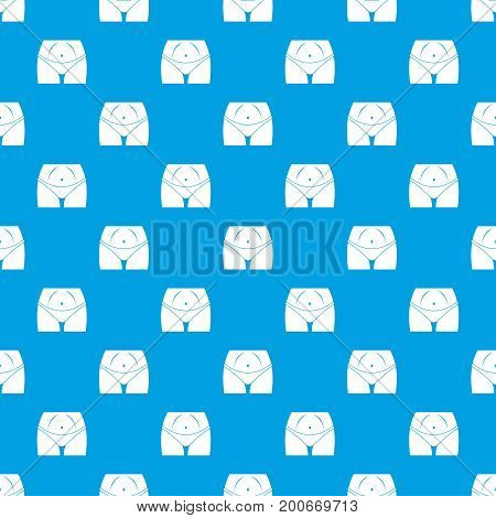 Slim woman body in panties pattern repeat seamless in blue color for any design. Vector geometric illustration
