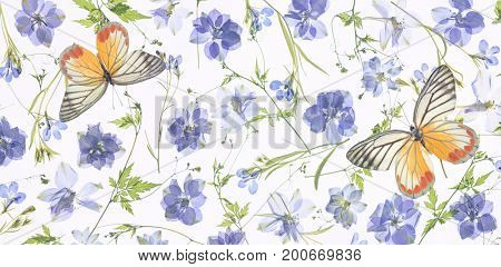 purple flower petals,leaves and butterfly background