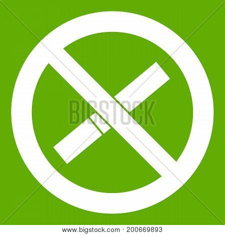 Sign prohibiting smoking icon white isolated on green background. Vector illustration