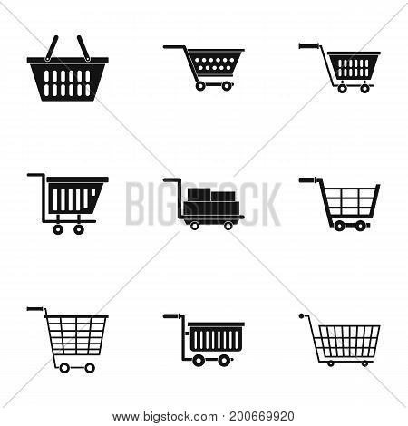 Market wheel cart icon set. Simple set of 9 market wheel cart vector icons for web isolated on white background