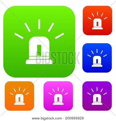 Blue special police flasher set icon in different colors isolated vector illustration. Premium collection