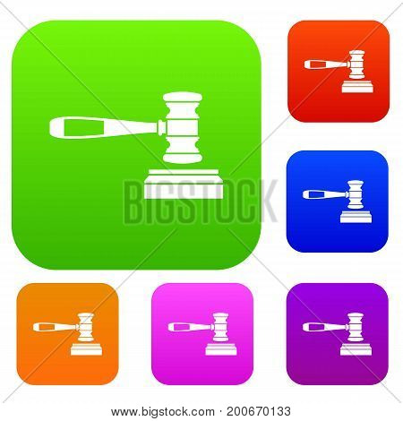 Judge gavel set icon in different colors isolated vector illustration. Premium collection