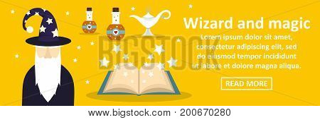 Wizard and magic banner horizontal concept. Flat illustration of wizard and magic banner horizontal vector concept for web