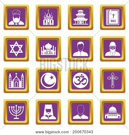 Religious symbol icons set in purple color isolated vector illustration for web and any design