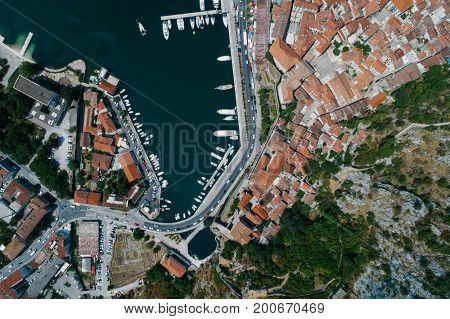 Aerial view of the berth for yachts