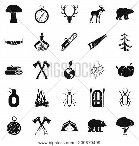 Deforestation icons set. Simple set of 25 deforestation vector icons for web isolated on white background