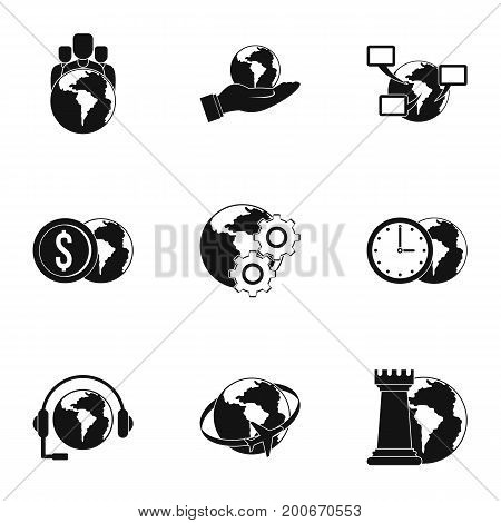 Global comunity icon set. Simple set of 9 global comunity vector icons for web isolated on white background