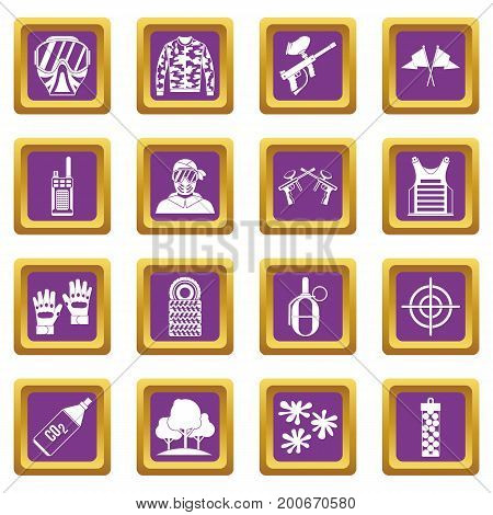 Paintball icons set in purple color isolated vector illustration for web and any design