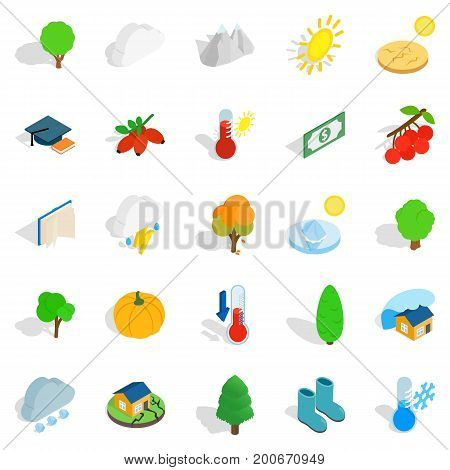 a icons set. Isometric set of 25 arboreal vector icons for web isolated on white background