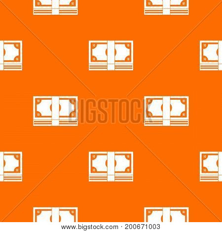 Bundle of money pattern repeat seamless in orange color for any design. Vector geometric illustration
