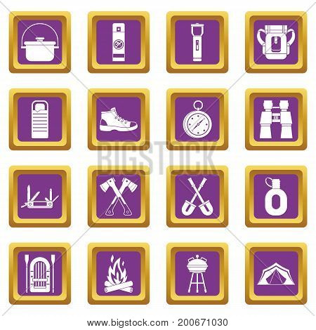 Recreation tourism icons set in purple color isolated vector illustration for web and any design