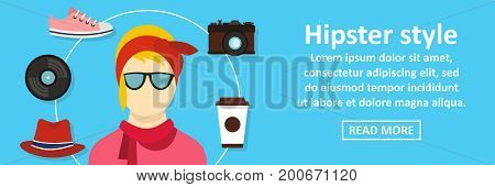 Hipster style banner horizontal concept. Flat illustration of hipster style banner horizontal vector concept for web