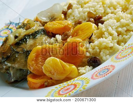 Apricot and Almond Tagine - Moroccan Chicken Tajine with Apricots couscous