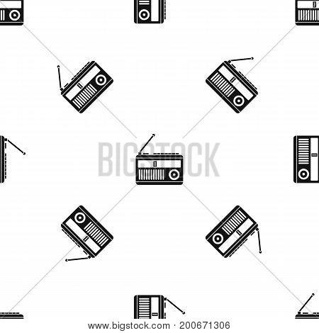 Retro radio pattern repeat seamless in black color for any design. Vector geometric illustration