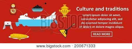 Culture and traditions russia banner horizontal concept. Flat illustration of culture and traditions russia banner horizontal vector concept for web