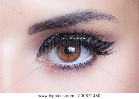 woman eye with glittering evening makeup closeup studio shot