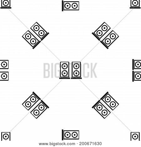 Music speakers pattern repeat seamless in black color for any design. Vector geometric illustration