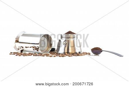 Stainless steel traditional percolator with black handle. Isolated on white background.