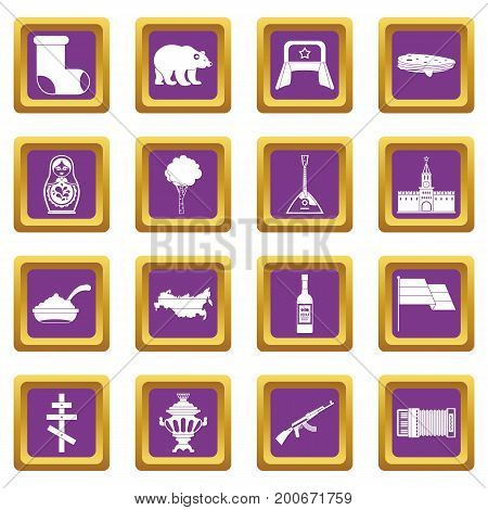 Russia icons set in purple color isolated vector illustration for web and any design