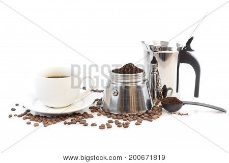 Coffee Maker Percolater, Beans And Coffee