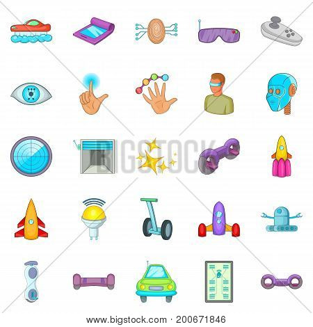 Robotic icons set. Cartoon set of 25 robotic vector icons for web isolated on white background