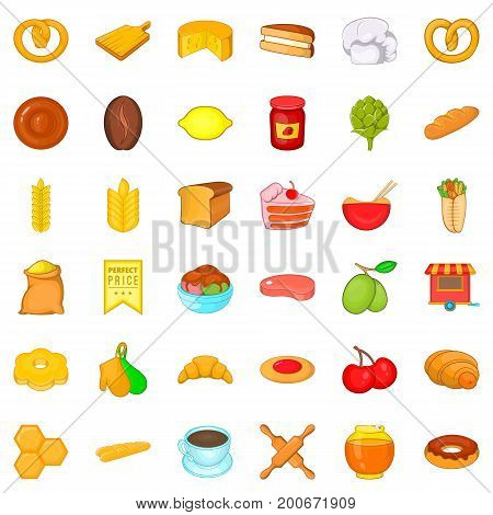 Cuisine icons set. Cartoon style of 36 cuisine vector icons for web isolated on white background