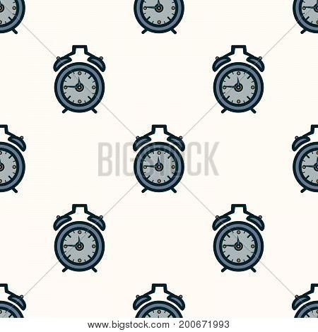 Seamless pattern of alarm clocks on the symmetrical light background. Flat design Vector Illustration