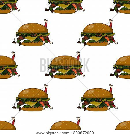 Seamless Vector Pattern with Unhealthy Food Burger on a White Background. Bad burger eating people. Flat design Vector Illustration