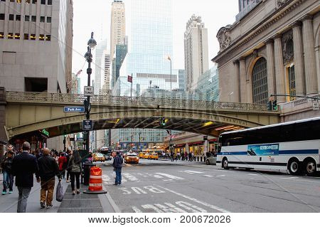 New York USA - September 26 2016: The Park Avenue Viaduct over 42nd Street linking the Pershing Square Plaza to Grand Central Terminal.