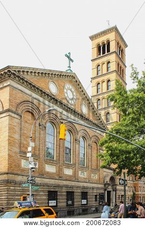 New York USA - September 27 2016: The Judson Memorial Church located opposite Washington Square Park in the Greenwich Village neighborhood of the New York City borough of Manhattan