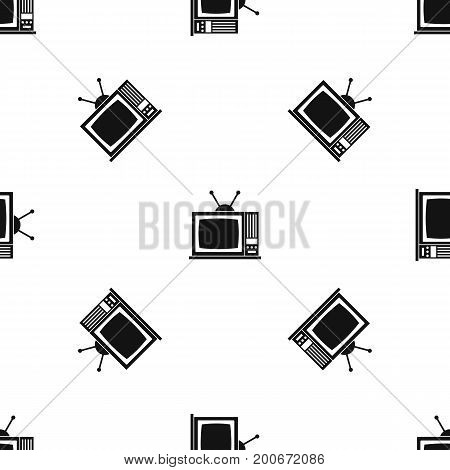 Retro TV pattern repeat seamless in black color for any design. Vector geometric illustration