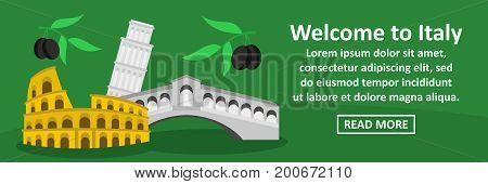 Welcome to italy banner horizontal concept. Flat illustration of welcome to italy banner horizontal vector concept for web