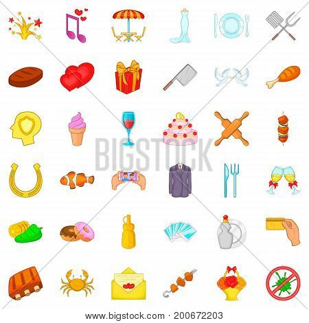 Banquet icons set. Cartoon style of 36 banquet vector icons for web isolated on white background