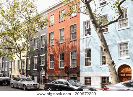 New York USA - September 27 2016: Colorful brick facades of typical lower Manhattan apartment buildings in New York.