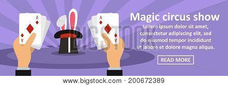 Magic circus show banner horizontal concept. Flat illustration of magic circus show banner horizontal vector concept for web