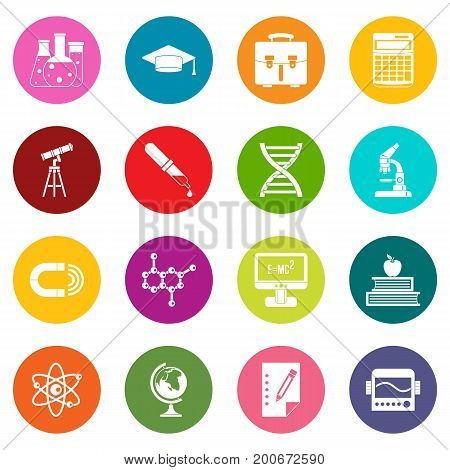 Education icons many colors set isolated on white for digital marketing