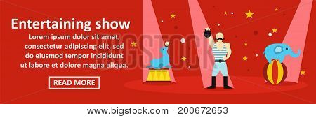 Entertaining show banner horizontal concept. Flat illustration of entertaining show banner horizontal vector concept for web