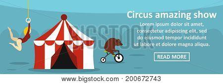 Circus amazing show banner horizontal concept. Flat illustration of circus amazing show banner horizontal vector concept for web