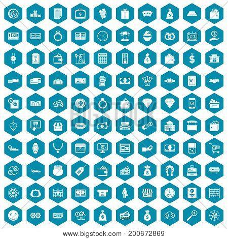 100 money icons set in sapphirine hexagon isolated vector illustration